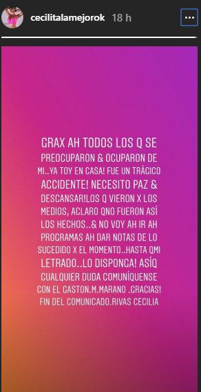 Fuente: InstagramStories  @cecilitalamejorok