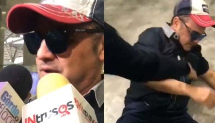 ebrio alberto aguilera cae durante entrevista