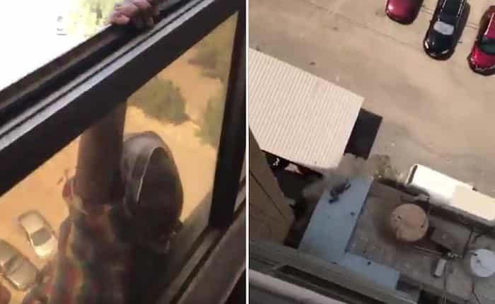 mujer grava a empleada caer ventana