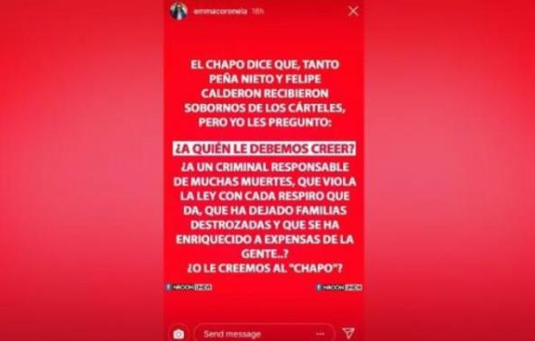 Emma Coronel lanza POLÉMICO mensaje a Calderón y Peña Nieto