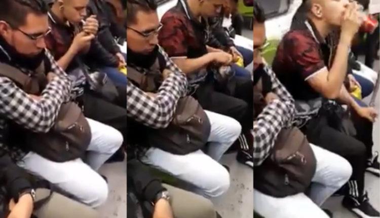 Captan a chico fumando mariguana y bebiendo en el Metro