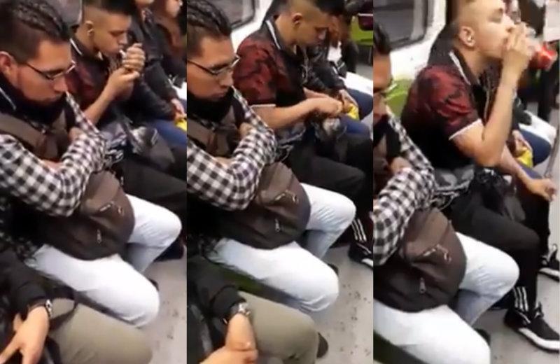 ¡Indignante! Captan a chico fumando mariguana y bebiendo en el Metro. Noticias en tiempo real
