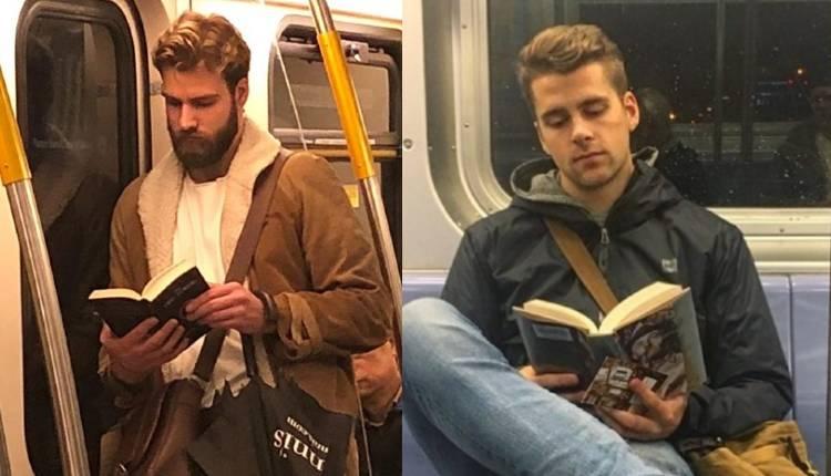 hombres guapos leyendo.