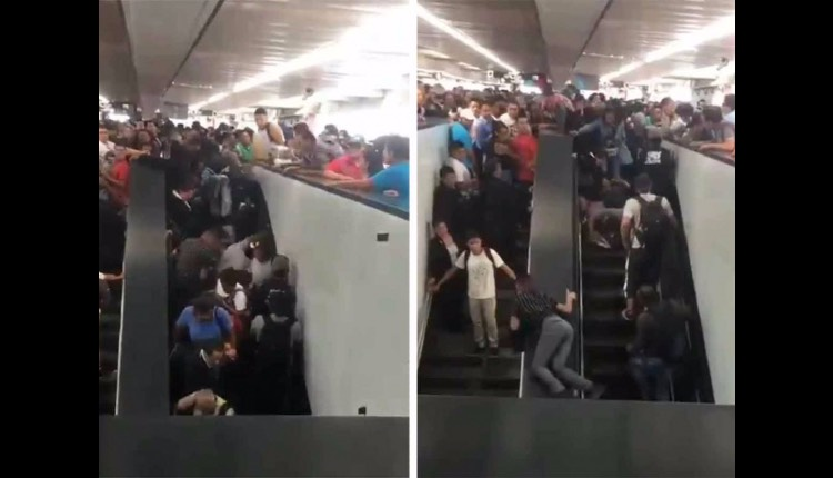 usuarios del metro caen de escaleras eléctricas pantitlan