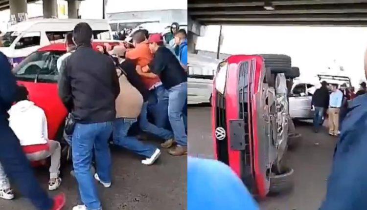 taxistas dañan carro uber