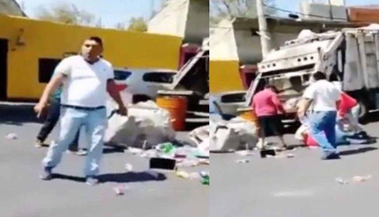 taxistas noquean recolector basura