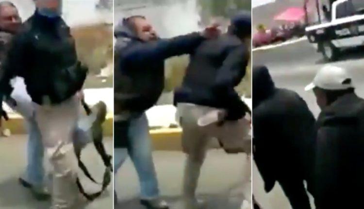 golpean a policia en puebla